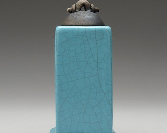 Raku Ceramic Box, handmade, turquoise blue, home decor ,pottery