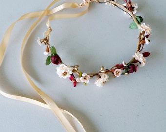 Burgundy gold flower crown Wine Bridal hair wreath headpiece blush girl halo music festival accessories headwreath garland