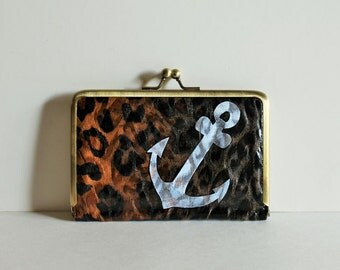 Hipster Wallet - WALLET with HANDPAINTED ANCHOR