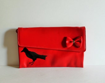 Christmas / Gift for Her / Purse / Red Purse / Vintage Purse /Painted Purse / Bird / Painted Purse / Prom Purse / Vintage Bird