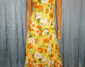 "Vintage 60's/70's - Sheer - Floral - Empire Waist - Hippie - Boho - Maxi -Dress  bust: 32"""
