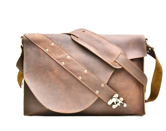 Rustic Leather Satchel - Industrial Leather Laptop Bag - Distressed Leather Men's Bag Murse - IN STOCK
