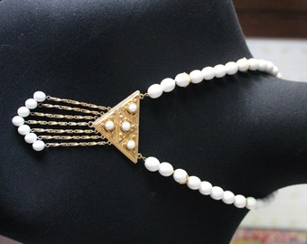 Vintage Egyptian Style Dangling Beads Statement Necklace, White & Gold