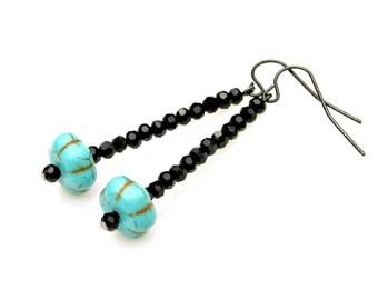 Turquoise Earrings Long Dangle Earrings Blue Earrings Pumpkin Earrings Black Crystal Earrings Rustic Country Chic High Fashion by Mei Faith