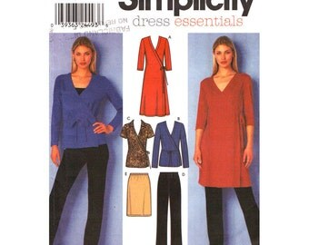 Womens Sewing Pattern Simplicity 9482 Wrap Dress or Wrap Top, Pull On Pants, Skirt 2 Hour Wardrobe Pattern Womens Size 6 8 10 12 UNCUT
