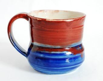 16 oz Mug Blue Red and White Porcelain Ceramic Mug Large