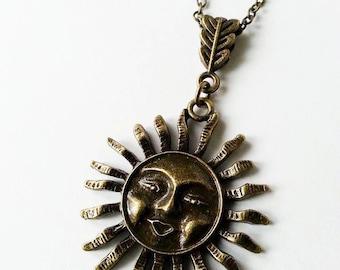 Antique Bronze Sunshine Necklace (BRNK079)