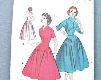 1950s Uncut Butterick 7083 Vintage Sewing Princess Dress Pattern Side Gathers Fitted Bodice Full Skirt Bust 30