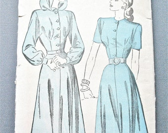 Vintage 1940s Advance 4715 Hooded Dress Sewing Pattern  Bust 32 inches