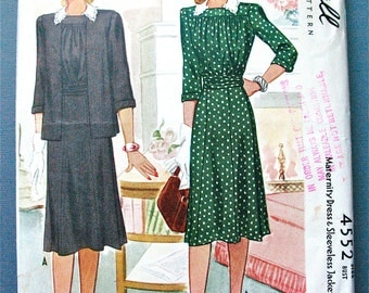 1940s Vintage Maternity Dress and Sleeveless Jacket Sewing Pattern by McCall 4552  Bust 32 inches