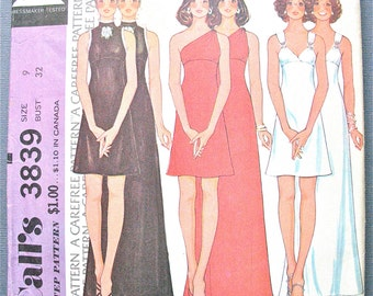 McCall's 3839 One Shoulder Misses' Midi and Maxi Dress Early 1970s Vintage Sewing Pattern Cocktai Dress Wedding Gown Sleeveless   Bust 32