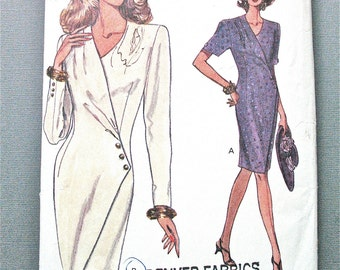Very Easy Vogue Vintage Sewing Mock Wrap Dress Pattern Size 14