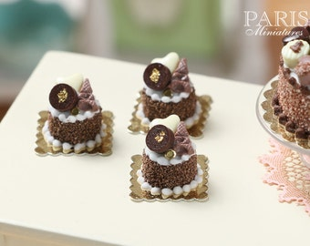 Chocolate Celebration Pastry - Miniature Food in 12th Scale for Dollhouse