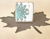Cottage Chic Ring Adjustable Scrabble Tile in White and Patina - Midwinter