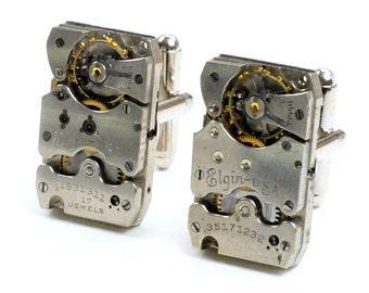 Steampunk Antique 1930's Elgin Watch Cuff Links
