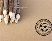Personalized Rubber Stamp Soccer All Star Sport Round Circle Make Your Own Cute Text (Wood Engraved or Self Inked) 0158