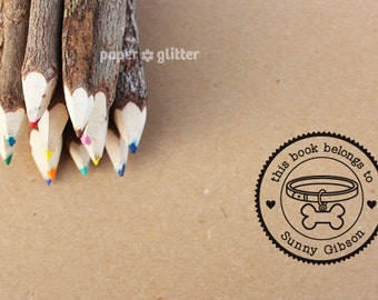 Puppy Bone Dog Collar Bone Personalized Self-Inking or Wood Rubber Stamp