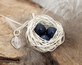 Personalized bird nest necklace with 3 lapis lazuli eggs and initial charm- silver plated woven wire- Sterling chain- September birthstone