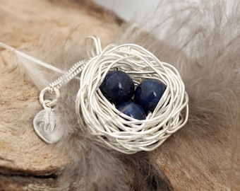 Personalized bird nest necklace with 3 lapis lazuli eggs and initial charm- silver plated woven wire- September birthstone- crystal healing
