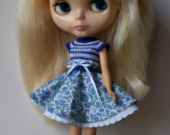 OOAK Blythe Kenner crochet dress by Misstakes licca doll blue flowers