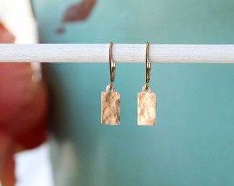 Gold Leverback Earrings, Drop Dangle Earring, Hammered Gold Jewelry, Everyday Earrings, Simple Gold Earrings, 14k Gold Fill Jewelry Gift Her