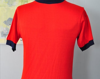 70s 80s Casual Top Short Sleeve Shirt Red Navy Blue Ringer Put On Shop Ladies MEDIUM LARGE
