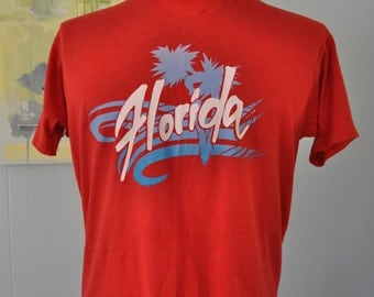 Vintage Tee Super Soft n Thin TShirt Funy Rad 80s Palm Trees Beach Sunset Florida Red LARGE