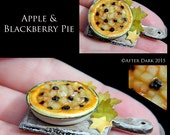 Gourmet Apple & Blackberry Pie - Artisan fully Handmade Miniature in 12th scale. From After Dark miniatures.