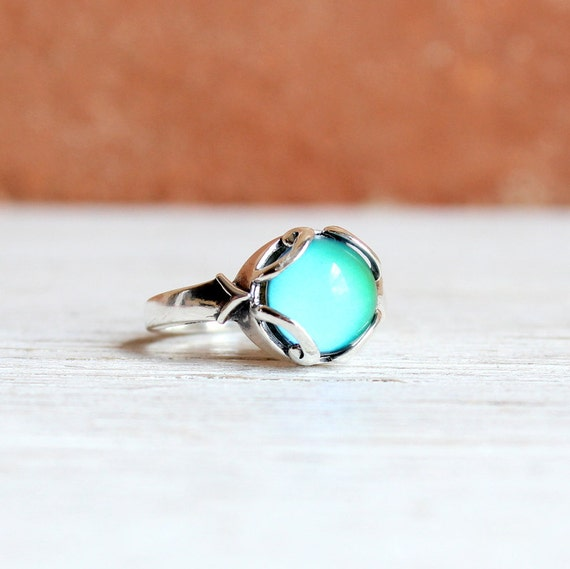 small sterling silver mood ring vintage by horsefeathersgifts