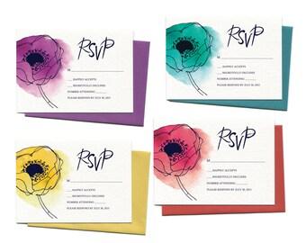 Watercolor Poppies Wedding Invitation Sample Pack | Watercolor Flowers Wedding Invitation with Calligraphy