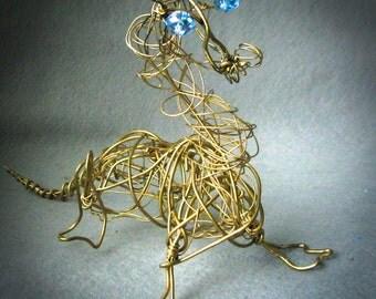 Golden Dragon Metal Sculpture , European Dragon Figurine, Wire Sculpture,  Dragon Decor, Collectible Gift