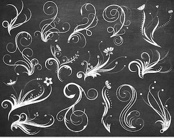 Chalkboard Swirl Clipart White Swirls Clip Art Vector Flourish Digital Scrapbooking Wedding Invitations Silhouette