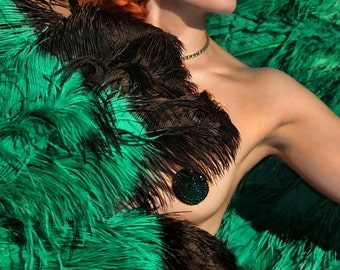 Emerald Pasties Green Crystal Burlesque 3 Inches