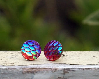 Mermaid Scale Scale Stud Earrings, 10mm Red with Teal Blue Shimmer, Titanium or Stainless Steel Posts, Myths and Meadows