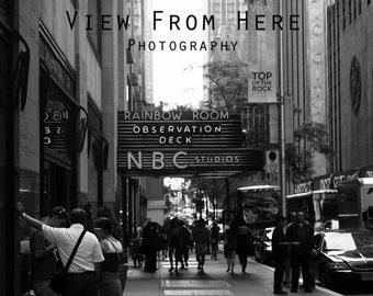 NYC, Black and White, Photograhy, City Streets, 30Rock, NBC Studios, Wall Art