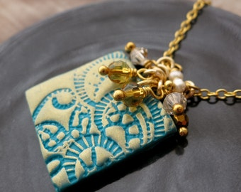 Jasmine - Turquoise & Gold Stamped Polymer Clay Necklace