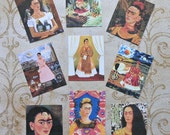 9 Frida STICKERS- Small, medium or LARGE- Beautiful Frida designs Frida Kahlo paintings Frida paintings images art stickers