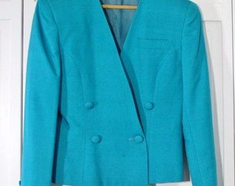 Vintage Suit Women's Austin Reed 1980's Suit Teal Silk Designer Suit  Jacket and Skirt Size 4 Business Office  Wear