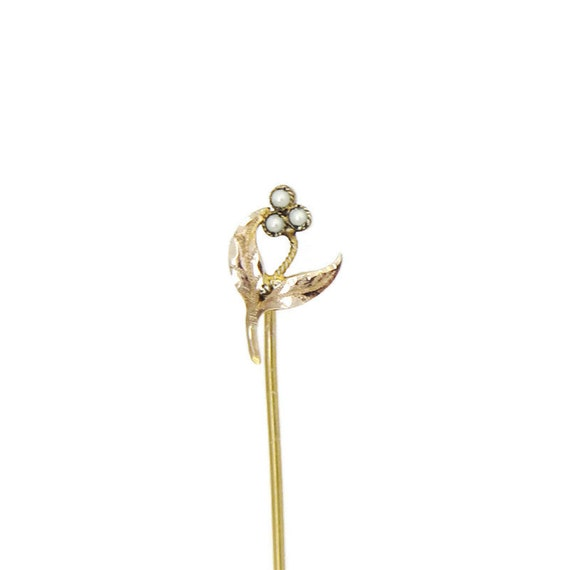 Antique Victorian Stickpin 14k Gold Seed Pearls Flower Lapel