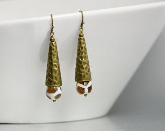 Tribal Style African Jewelry, Dzi Beads, Brass and Giraffe Print Earrings, Brown and White Earrings