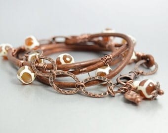 Brown Leather Bohemian Wrap Bracelet Tribal Jewelry Bohemian Bracelet Giraffe Tibetan Dzi Beads Hippie Jewelry