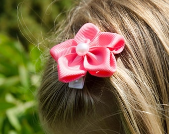 Hair Bow - Pink Grosgrain 5 Petal Hair Flower