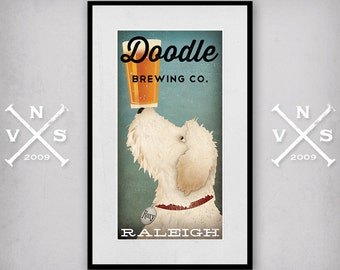 FRAMED Doodle Goldendoodle Labradoodle Print  Customizable Personalized - Any 10x20 Print FRAMED in Handmade 16x26x1 Custom Frame SIGNED