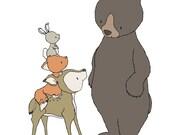 Woodland Nursery Art -- Beary Nice To Meet You -- Bear, Deer, Fox, Bunny -- Children Art Print -- Kids Wall Art