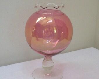 Vintage Pink Iridescent Glass Pedestal Rose Bowl