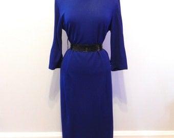 Vintage Dress 50s Navy Blue Wiggle Dress with rhinestone Brooch Lg XL3