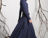 Hooded Maxi Dress in Midnight Blue with Long Sleeves and Pockets, loose fitting dress  (1140)