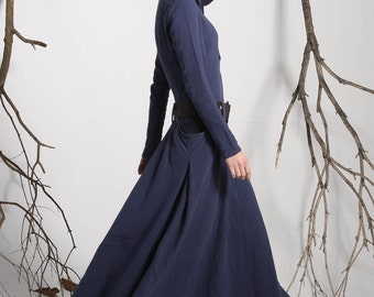 Hooded dress, maxi dress, dress pockets, blue dress, midnight dress, linen dress,long sleeves dress,long trench coat,loose fitting dress1140