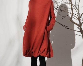 Orange dress woman linen mini dress Casual dress (1149)