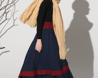 high waisted skirt, Maxi skirt linen skirt dark blue skirt women skirt (1158)